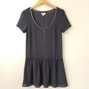 Tobi Black Semi-sheer Ruffle Hem Tunic